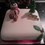 Snowman, presents, Christmas tree and holly